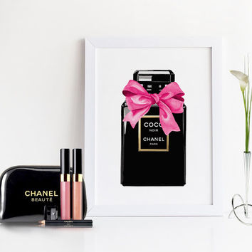 COCO CHANEL PERFUME,Chanel With Pink Bow.Coco Noir Chanel,Fashion Illustration,Makeup Art,Makeup Bathroom Print,Girly Print,Gift For Friend
