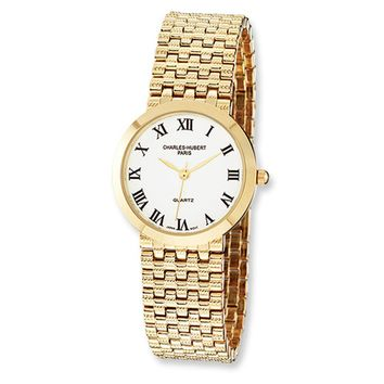 Men's Satin Gold-Plated Watch by Charles Hubert