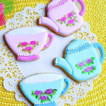 Alice in wonderland Hand Painted Tea cup & kettle cookies, gift or party cookies, winter or holiday celebrations cookies, birthday or party
