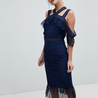 PrettyLittleThing Lace Strappy Midi Dress at asos.com
