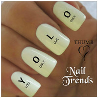 YOLO Nail Decal. 20 Vinyl Stickers Nail Art