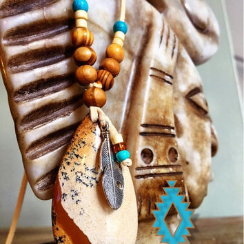 CYBER SALE Native American Spirit Jasper turquoise feather necklace, Hippie Boho Chic pendant