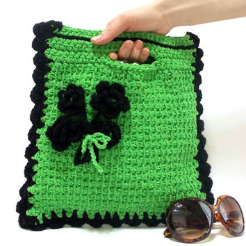 Handmade clutch, Purse, ON SALE, Handmade tote, Crochet Floral Handbag, Emerald Bag, Green, Crochet tote bag, Netbook, Phone, Macbook