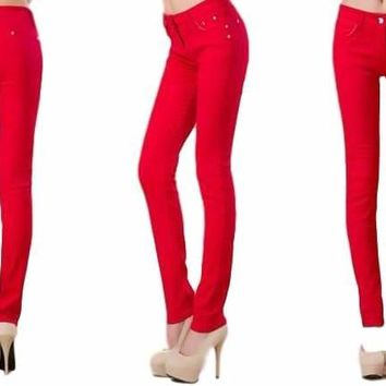 Women Red Colored Candy Skinny Jegging Style Skinny Jeans