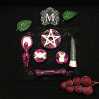 Wicca Pagan Pocket Altar Pink Black and White