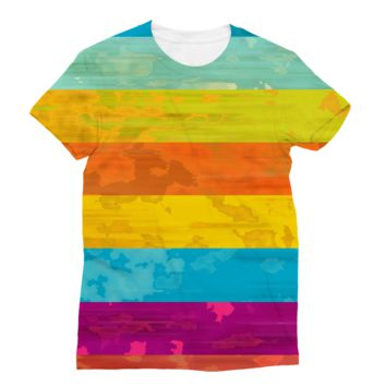 Horizontal Rainbow Stripes AWDis Sublimation T-Shirt
