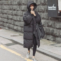 2015 Black Big Plus Size Korea Fashion Female Outwear Thick Warm Parka Oversize Fur Duck Down Winter Coat Women Retro With Hood
