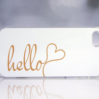 Solid White + Gold iPhone Case + Hello iPhone Case + Hello Monogram iPhone Case