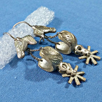 Western Wear Cowboy Cowgirl Silver Spurs Horse Head Dangle Earrings Spurs Turn Move Fun Western Americana Handcrafted Fine Detail Sterling