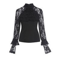 Gothic Shirt Black Straight Women Autumn Patchwork Mesh Lace Goth Tops Retro Ruffles Fashion Vintage Goth Casual Blouses