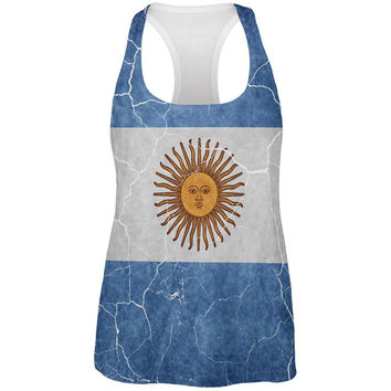 Distressed Argentina Flag All Over Womens Work Out Tank Top