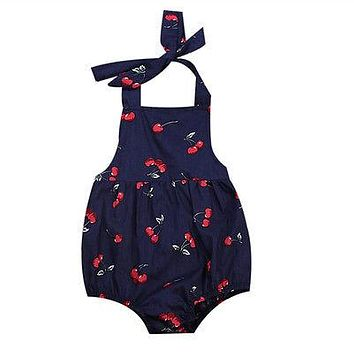Baby Clothing Infant Baby Girl cherry Romper Cotton Clothes Cherry Backless Jumpsuit Sun-suit Clothing
