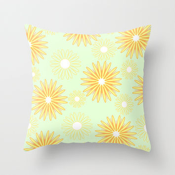 Yellow floral pattern Throw Pillow by cycreation