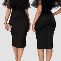 Black Grenadine Ruffle Bodycon Round Neck Party Church Midi Dress