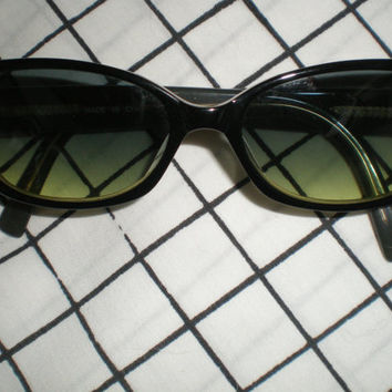 Anne Klein sunglasses, black and yellow, greenish lenses, AK510