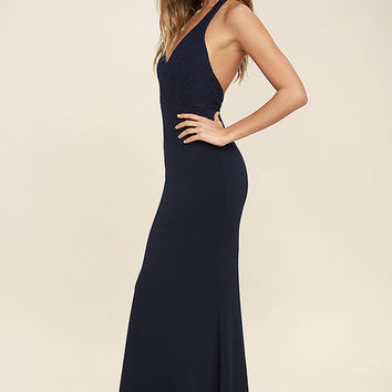 Love Potion Navy Blue Lace Halter Maxi Dress