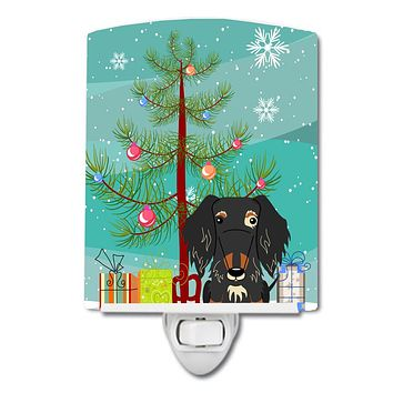 Merry Christmas Tree Wire Haired Dachshund Dapple Ceramic Night Light BB4253CNL