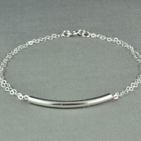 Curved Tube Bracelet, 925 Sterling Silver, Double Chain, Simple, Pretty, Delicate, Everyday Wear Bracelet