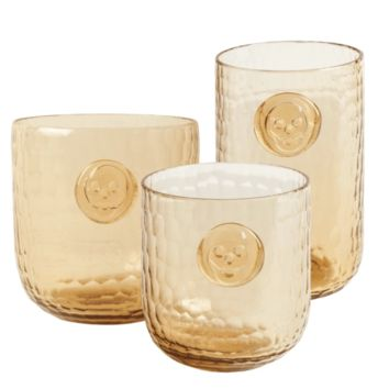 Bonehead Skull Wood Colored Drinking Glasses - 3 sizes / sets of 4