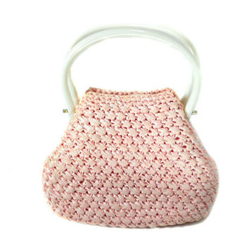 1960s Jordan Marsh Pink Straw Handbag / Raffia Purse / Mad Men / Plastic Handle Purse / Spring Summer Easter / Pastel Pink / Vintage Purse