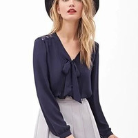 V-neck Bowknot Cuff Sleeve Blouse