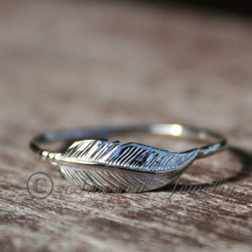 Feather ring  Sterling silver by ArmoredJewelry on Etsy