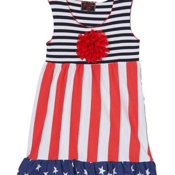 4th of July Multi Print Rosette Dress