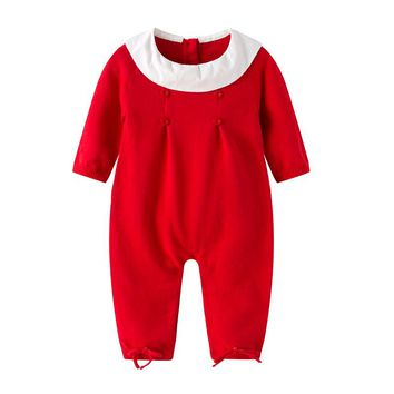 Auro Mesa infantil baby girls Red Knit Romper Christmas Baby Winter Clothes roupa infantil menina Newborn baby Jumpsuits