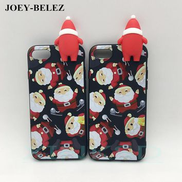 3D cute Christmas phone Cases For iPhone 6s 5 5s SE 7 Plus soft silicone case back cover for iPhone X case New Year Gift Capa