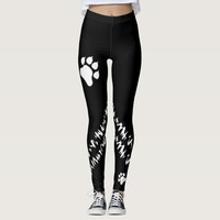 Black And White Dog Paws With Grunge Stripes Leggings