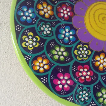 Wooden Bowl Hand Painted Peribana, Colorful Mexican ethnic wood, doodle flower Wall art, glitter Decoration plate, Mexican purple Folk