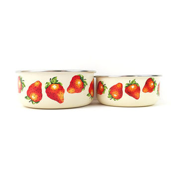 Set of 2 Kobe Enamel Strawberry Bowls / Vintage Enamelware / Great for Summer / Large, Strawberries / Unique Vintage Japanese Design