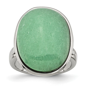 Stainless Steel Green Aventurine Size 6 Ring