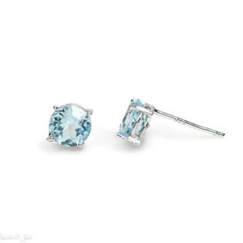 6mm Round Sterling Silver Light Sky Blue Topaz Stud Earrings