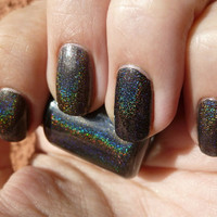 Midnights Rainbow Black Holographic Nail Polish - mini bottle
