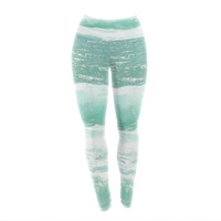 "Monika Strigel ""Maui Waves"" Teal Green Yoga Leggings"