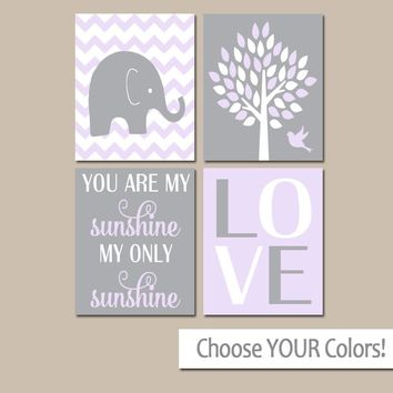 LILAC Gray Nursery, Girl Elephant Nursery Decor, Sunshine Quote, Baby Girl Nursery Decor, Girl Bedroom Pictures, CANVAS or Prints, Set of 4