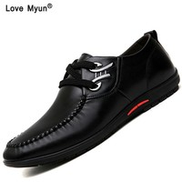 Men Shoes Genuine Leather Moccasin Loafers Designer Slip On Flat Boat Shoes Male Classical Chaussure Homme Size 37-44