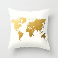 Gold Foil World Map Throw Pillow by Samantha Ranlet