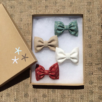 Tiny green and red pineapple, tan linen, and winter white Seaside Sparrow hair bow lot.  Beautiful birthday gift for her this Spring/Summer.