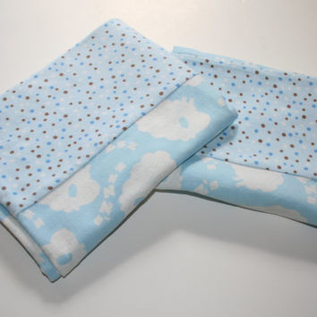 Cotton Flannel Fabric White and Blue Sheep Print  with Brown Polka Dot trim Standard Size Pillowcase Set