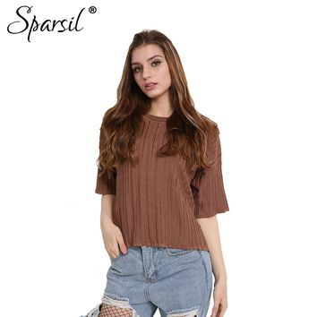 Women Summer Half Sleeve Pullovers Thin Knitted O-Neck Soft Loose Style Casual Fashion Solid Jacquard Weave Cool Fabric