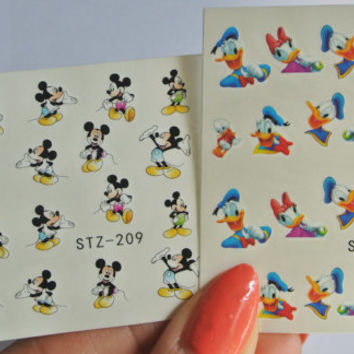 2 Sheets Mickey Mouse Nail Decal, Donald Duck, Daisy Duck, Mickey Mouse, Nail Art, Nail Decal, Water Transfer, Nails, Cartoon Nail Art