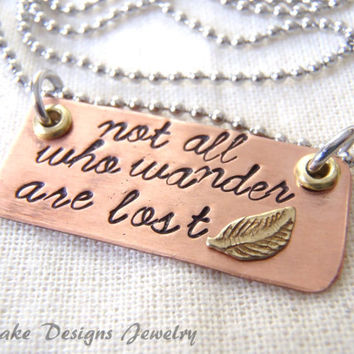 Not all who wander are lost Inspirational jewelry feather necklace graduation gift