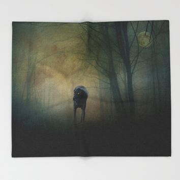 The Hound In The Woods Throw Blanket by Theresa Campbell D'August Art