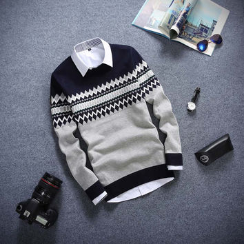 Long Sleeved Sweater Navy and Grey