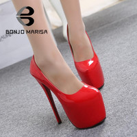 Big Size 35-44 Women Pumps Sexy 18 cm Ultra High Heels Red Bottom Shoes Party Wedding Shoes Round Toe Platform Pumps for Women