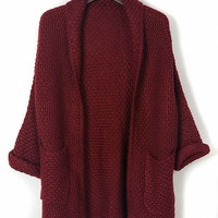 Burgundy Lapel Pocket Detail Open Front Long Sleeve Knit Cardigan - Choies.com