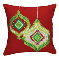 Ornament Embroidered Pillow - 16""