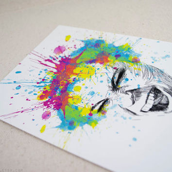Art Print of My Digital Illustration, Colorful Splatters Scream, 5x7